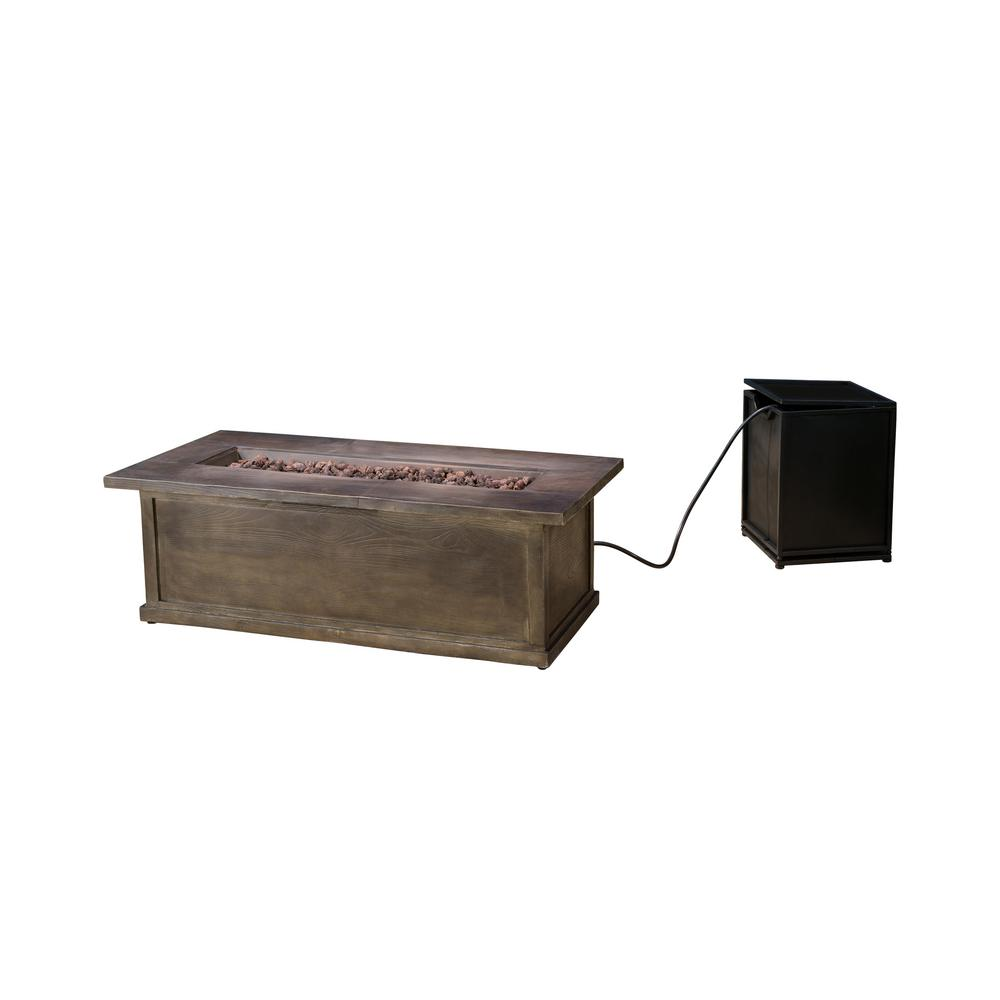 Noble House Esteban 56 in. x 18 in. Rectangular MGO LPG Fire Pit in Brown Wood with Concrete Tank Holder