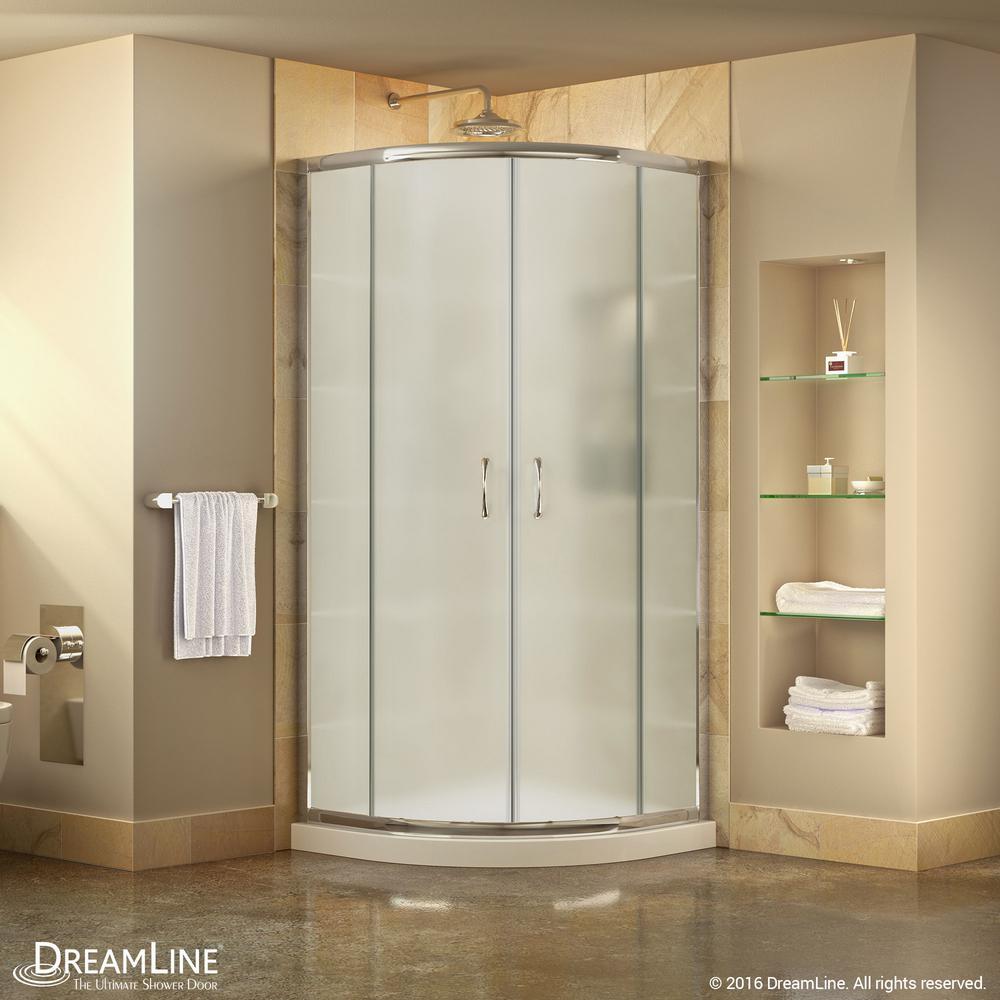 Prime 33 in. x 33 in. x 74.75 in. H Corner Semi-Frameless Sliding Shower Enclosure in Chrome with Shower Base in White