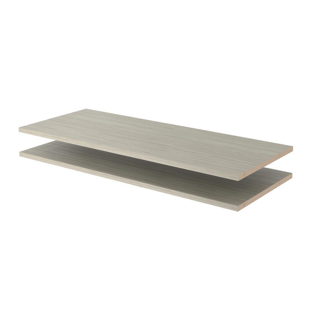 24 in. x 14 in. Rustic Grey Wood Shelves (2-Pack)