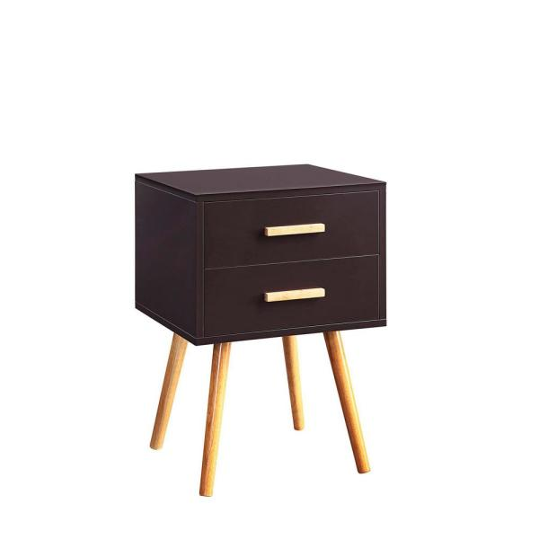 Oslo 23.5 in. Espresso 2-Drawer End Table