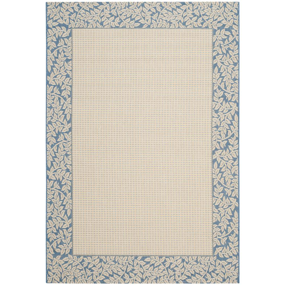 Courtyard Natural/Blue 5 ft. 3 in. x 7 ft. 7 in.