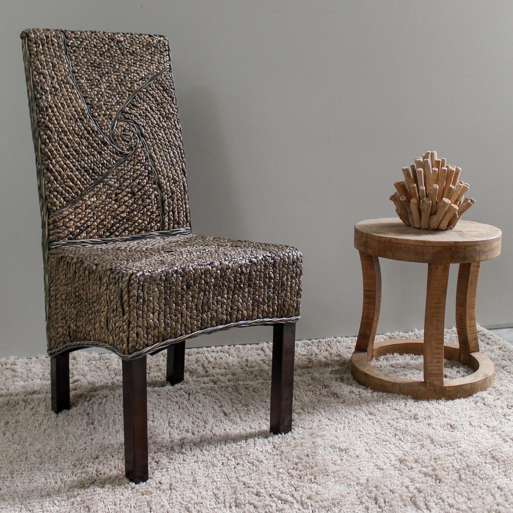 Lambada Salak Brown Hyacinth Spiral Design Dining Chair With Mahogany  Hardwood Frame