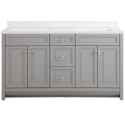 Brinkhill 61 in. W x 22 in. D Bath Vanity in Sterling Gray with Cultured Marble Vanity Top in White with White Sinks