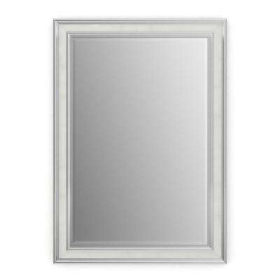 33 in. x 47 in. (L1) Rectangular Framed Mirror with Deluxe Glass and Float Mount Hardware in Chrome and Linen