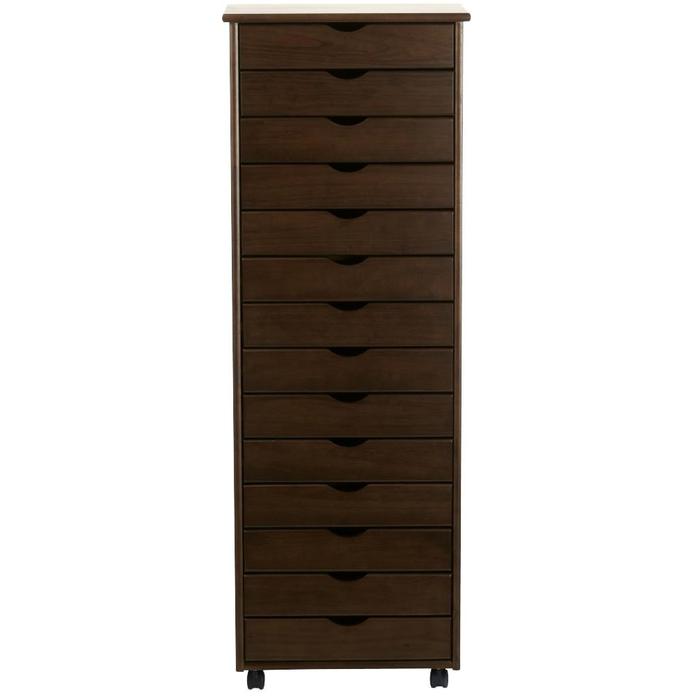 Stanton 14-Drawer Storage Cart in Chestnut