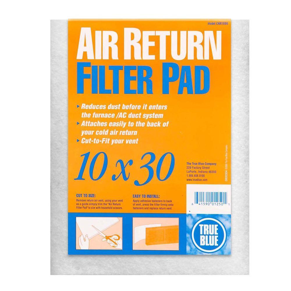 True Blue 10 in  x 30 in  Cold Air Return FPR 1 Filter Pad