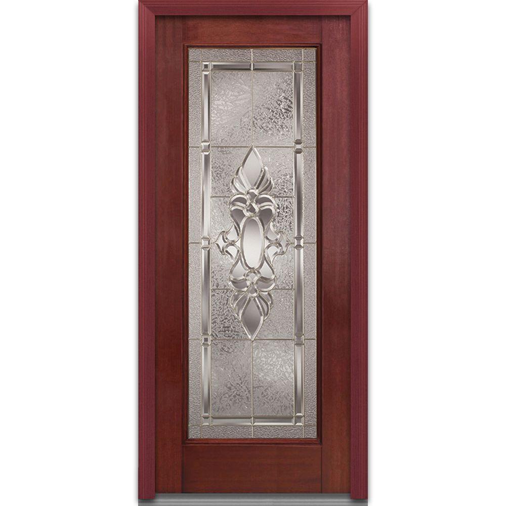 Mmi door 36 in x 80 in heirloom master right hand full lite classic stained fiberglass for 36 x 80 fiberglass exterior door