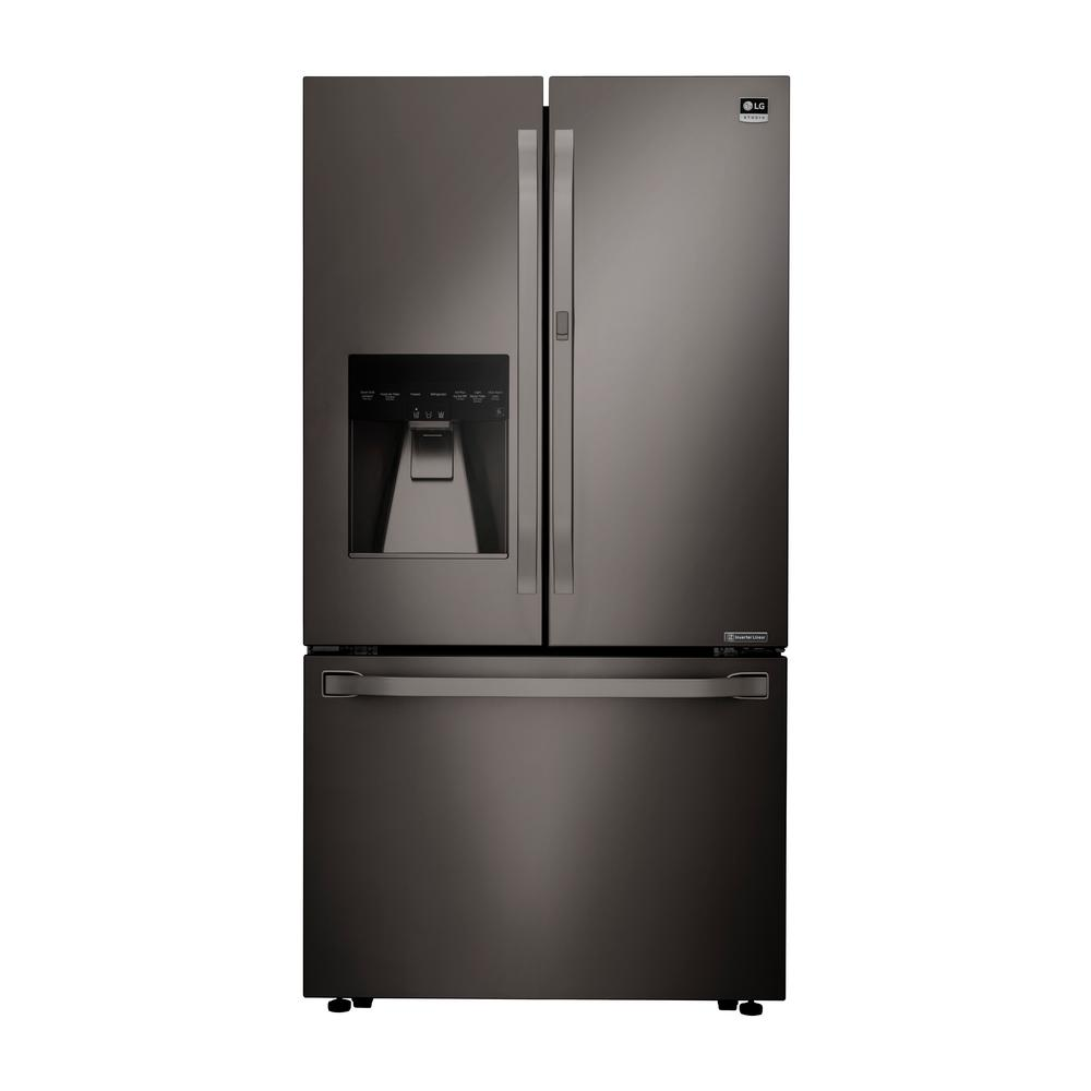 French Door Refrigerators: Samsung 25.5 Cu. Ft. French Door Refrigerator In Black