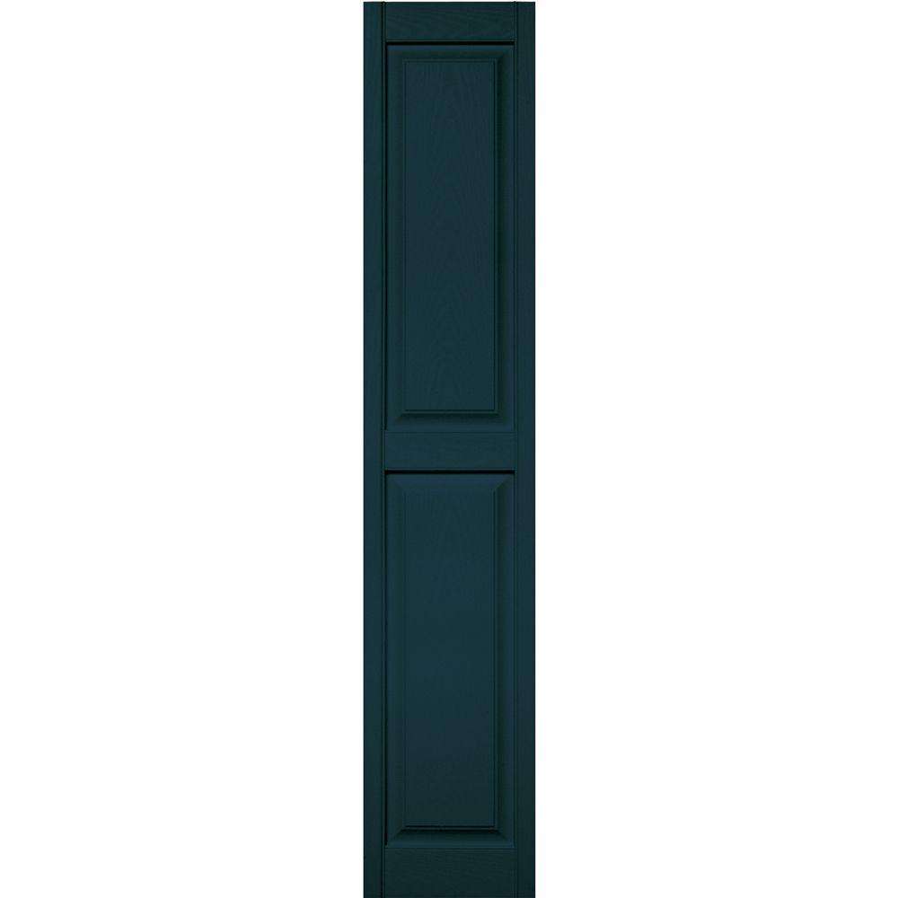 Builders Edge 15 in. x 75 in. Raised Panel Vinyl Exterior Shutters Pair in #166 Midnight Blue