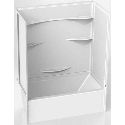 Remodeline 30 in. x 60 in. x 76 in. AcrylX Acrylic Finished 4-Piece Bath and Shower Kit with Left Drain in White