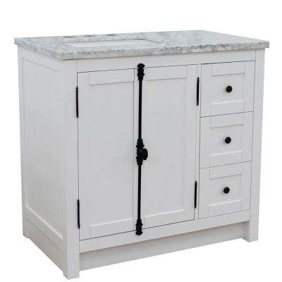 37 in. W x 22 in. D x 36 in. H Bath Vanity in Glacier Ash with White Marble Vanity Top and Left Side Rectangular Sink