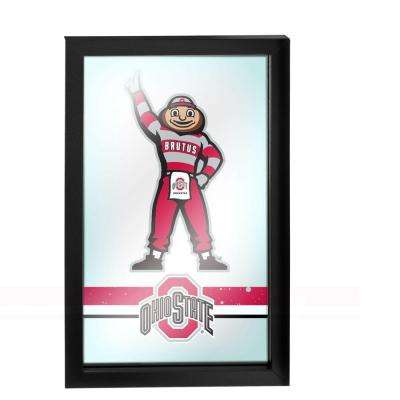 Ohio State Stripe Brutus 26 in. x 15 in. Black Wood Framed Logo Mirror