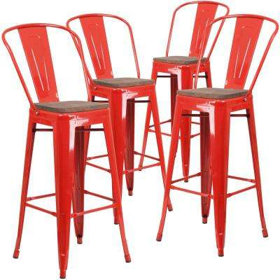 30.25 in. Red Bar Stool (4-Pack)