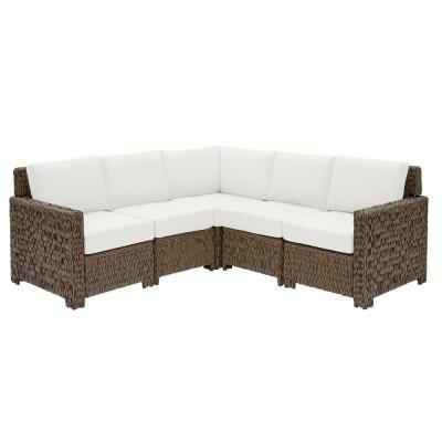 Laguna Point Brown 5-Piece Wicker Outdoor Patio Sectional Sofa Set with CushionGuard Chalk White Cushions