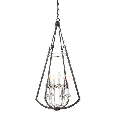 8-Light Matte Black Chandelier