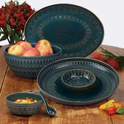 Multi-Colored 152 oz. Aztec Teal Deep Bowl