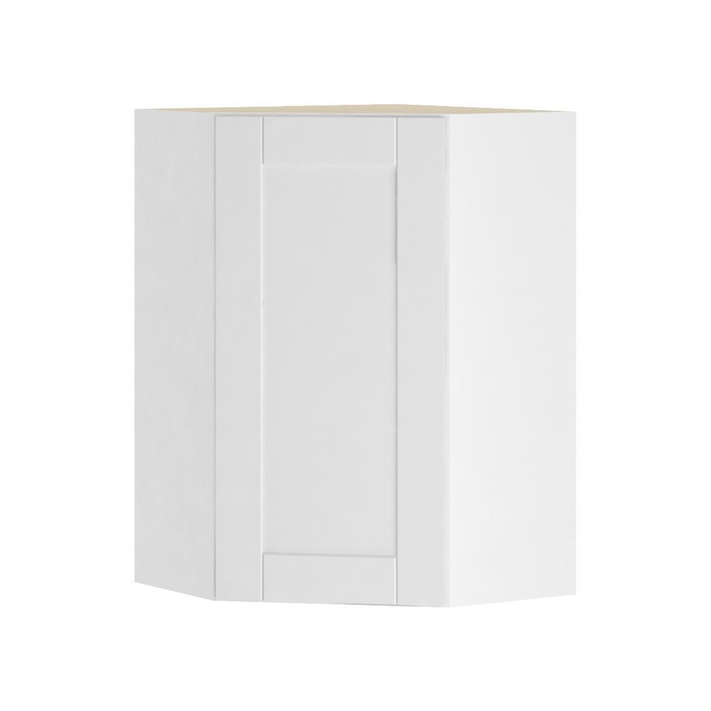 Hampton Bay Princeton Shaker Assembled 24x36x24 In Corner Wall Cabinet In Warm White Wcd242436