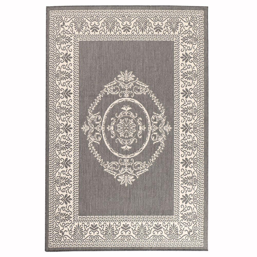 Home Decorators Collection Antique Medallion Gray and White 3 ft.9 in. x 5 ft.5 in. Area Rug