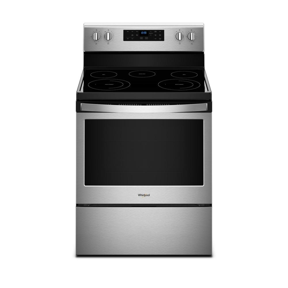 WHIRLPOOL 30 in. 5.3 cu. ft. Electric Range with Self-Cleaning Oven in Fingerprint Resistant Stainless Steel