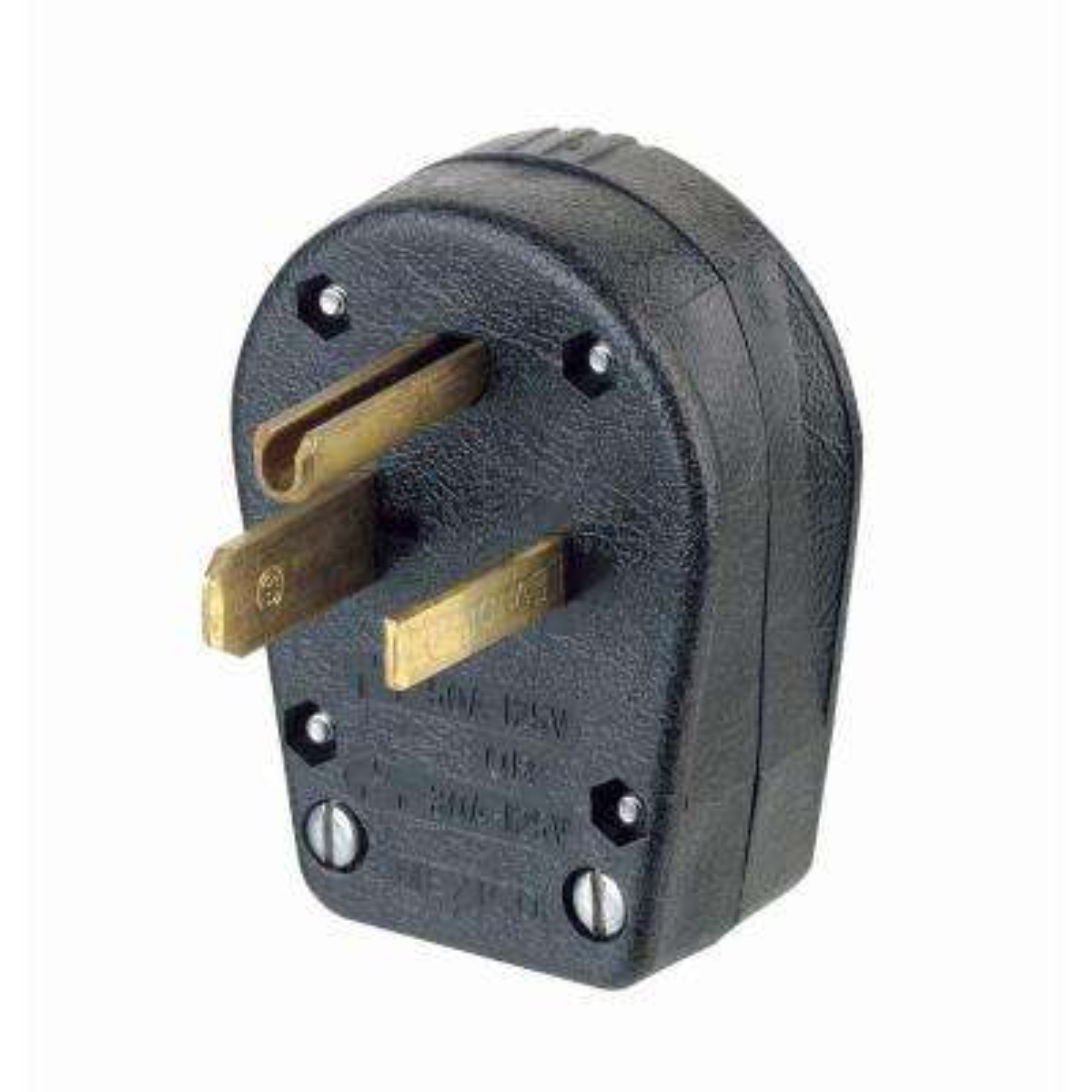 30/50 Amp 125-Volt 2 Pole 3 Wire Dual Power Vinyl Grounding Angle Plug, Black