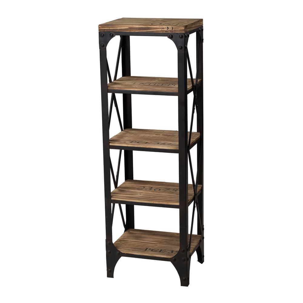 5 Shelf Wood And Iron Shelving Unit