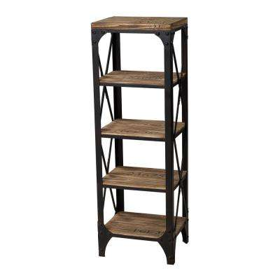 5-Shelf Industrial Wood and Iron Shelving Unit