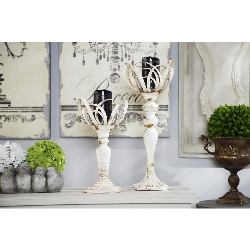 Distressed White Metal Candle Holders (Set of 2)