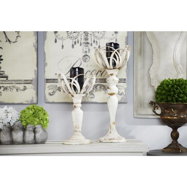 Litton Lane Distressed White Metal Candle Holders (Set of 2) 35465