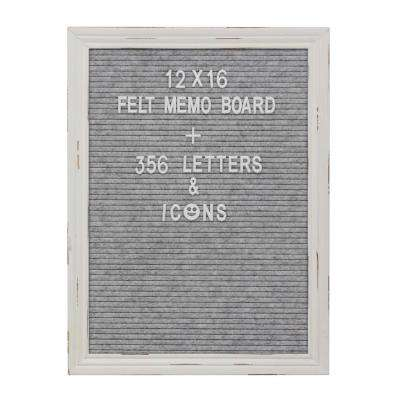 Gray Felt Memo Board with White Wash Wooden Frame