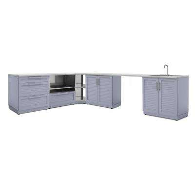 Coastal Gray 8-Piece 112.38 in. W x 36.5 in. H x 24 in. D Outdoor Kitchen Cabinet Set with Countertops and Covers