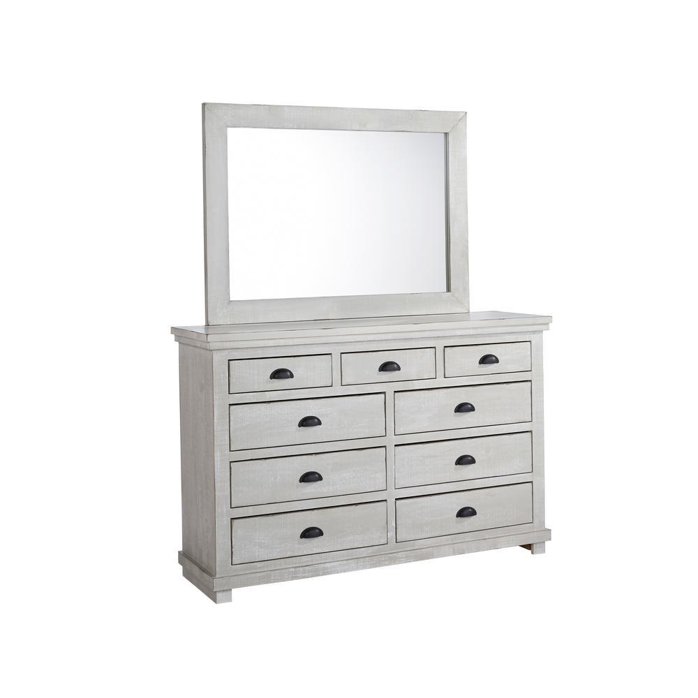 Willow 9-Drawer Gray Chalk Dresser with Mirror
