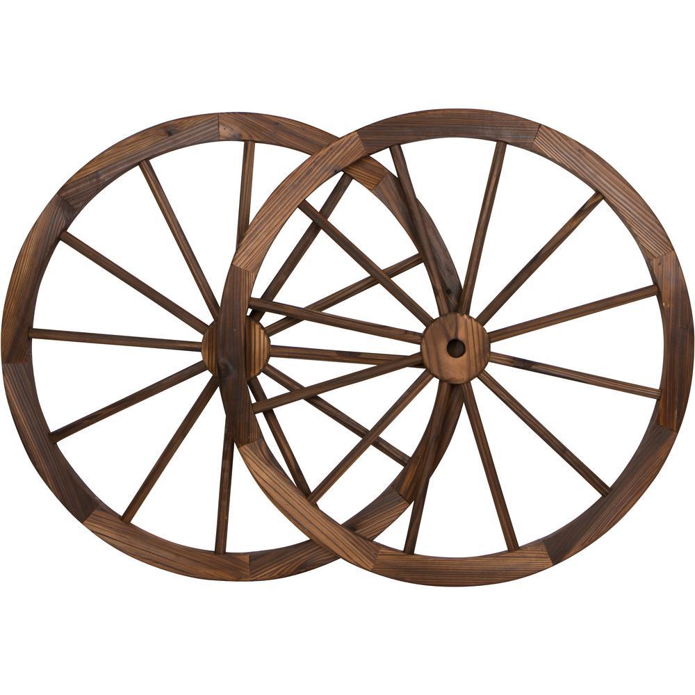 Decorative 30 in. Dia Vintage Wood Garden Wagon Wheel With Steel Rim