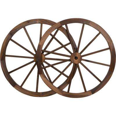 Decorative 30 in. Dia Vintage Wood Garden Wagon Wheel With Steel Rim