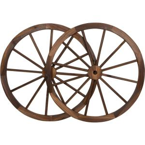 Trademark Innovations Decorative 30 inch Dia Vintage Wood Garden Wagon Wheel With Steel Rim by Trademark Innovations