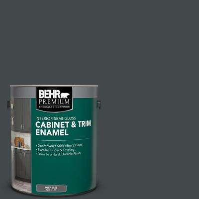 1 gal. #PPU24-23 Little Black Dress Semi-Gloss Enamel Interior Cabinet and Trim Paint