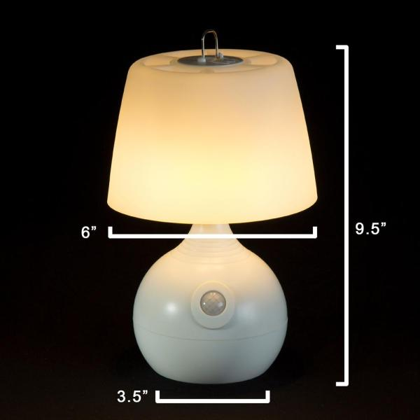 Lavish Home 9 5 In White Indoor Motion Sensor Table Lamp M100007 The Home Depot