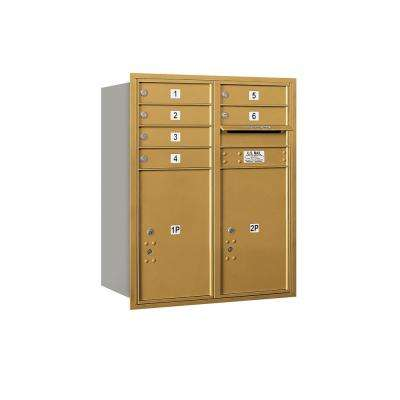 3700 Horizontal Series 6-Compartment with 2-Parcel Locker Recessed Mount Mailbox
