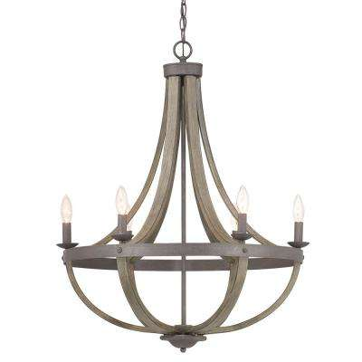 Keowee 6-Light Artisan Iron Chandelier with Distressed Elm Wood Accents