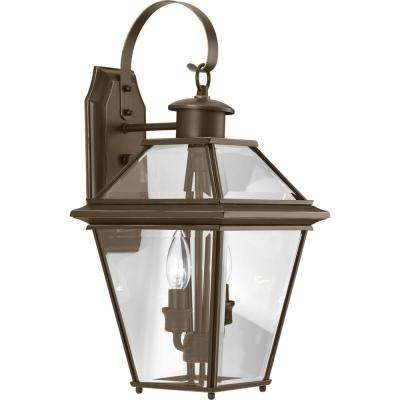 Burlington Collection 2-Light 18.75 in. Outdoor Antique Bronze Wall Lantern Sconce