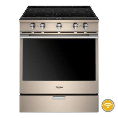 6.4 cu. ft. Smart Contemporary Handle Slide-in Electric Range with Frozen Bake Technology in Sunset Bronze