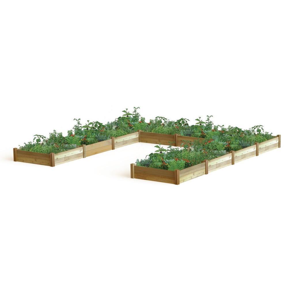 "189 in. x 189 in. x 13 in. ""U"" Shaped Harvester Raised Garden Bed"
