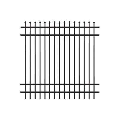 Cascade Standard-Duty 6 ft. H x 6 ft. W Black Aluminum Pre-Assembled Fence Panel