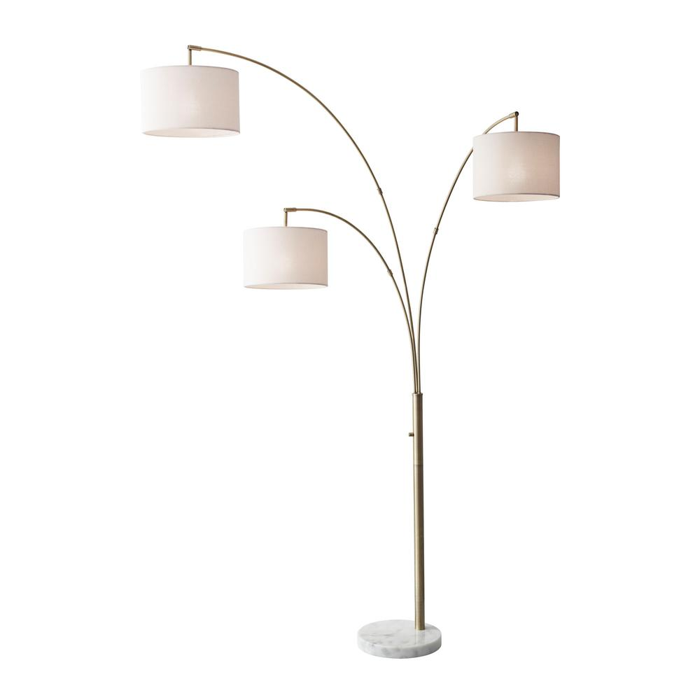 Adesso Bowery 74 In Antique Brass Floor Lamp 4250 21 The
