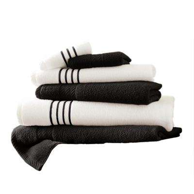 6-Piece Quick Dry Stripe Towel Set in Black
