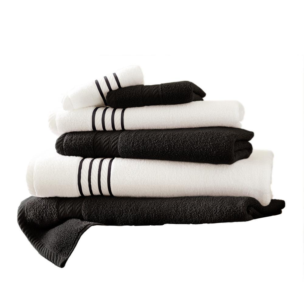 6-Piece Quick Dry Stripe Towel Set in Black