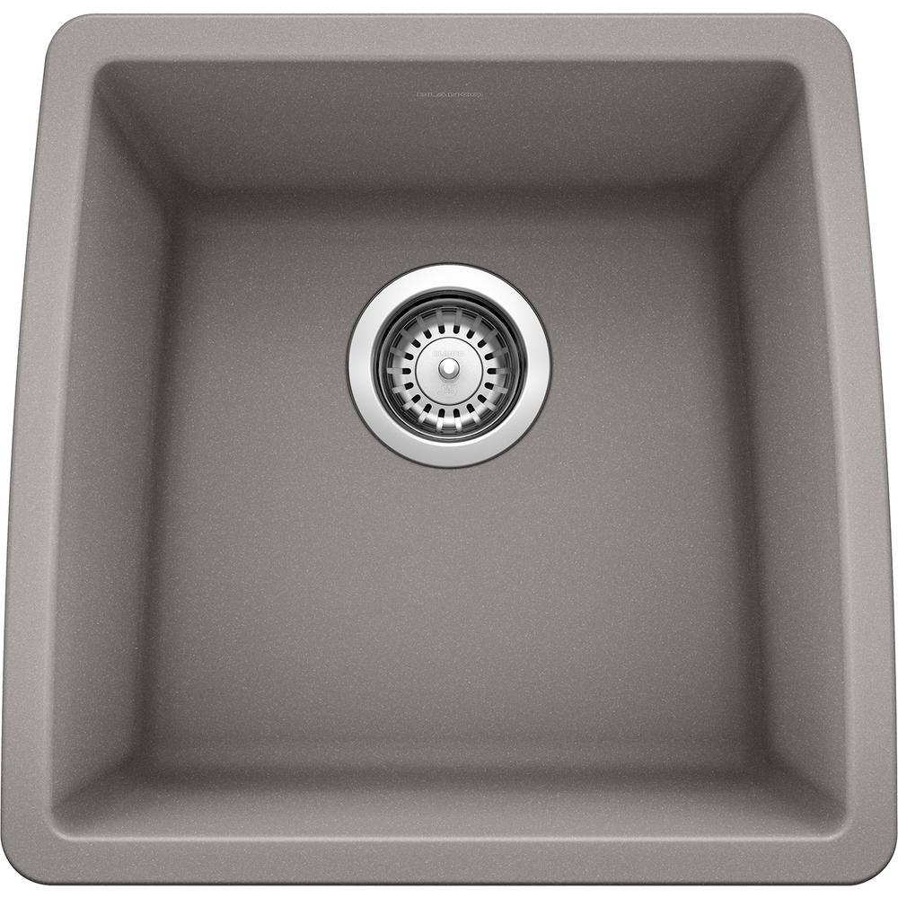 PERFORMA SILGRANIT Granite Composite 18 in. Undermount Bar Sink in Metallic Gray