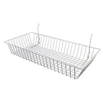 24 in. W x 12 in. D x 4 in. H White Shallow Basket
