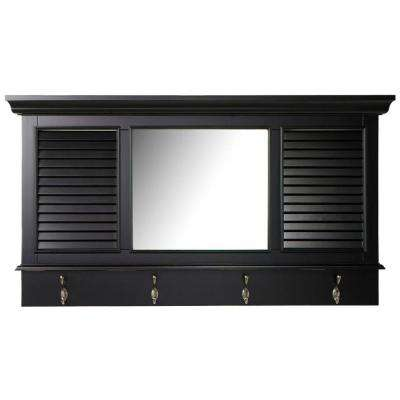 Shutter 23.25 in. H x 43 in. W Worn Black Framed Wall Mirror with 4-Hooks