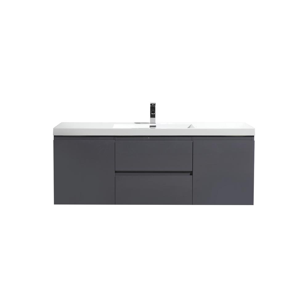 Groovy Bohemia 60 In W Bath Vanity In High Gloss Gray With Reinforced Acrylic Vanity Top In White With White Basin Download Free Architecture Designs Grimeyleaguecom