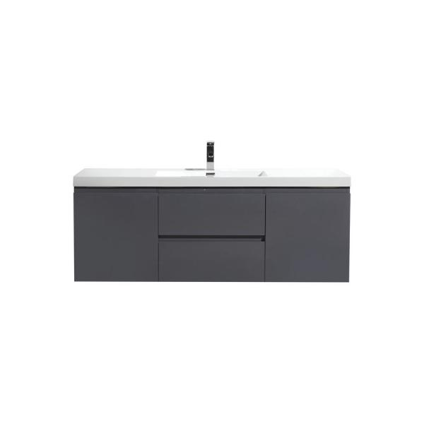 Bohemia 60 in. W Bath Vanity in High Gloss Gray with Reinforced Acrylic Vanity Top in White with White Basin
